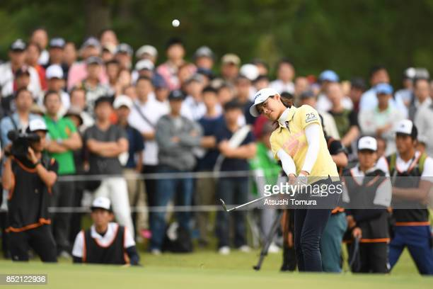 Hina Arakaki of Japan chips onto the 18th green during the second round of the Miyagi TV Cup Dunlop Ladies Open 2017 at the Rifu Golf Club on...