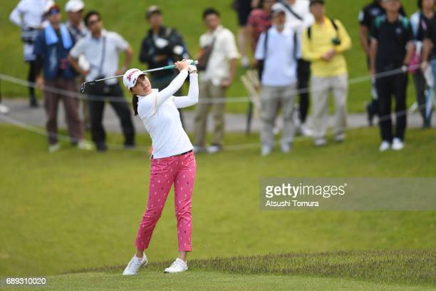 Hina Arakaki of Japan hits her second shot on the 10th hole during the final round of the Resorttrust Ladies at the Oakmont Golf Club on May 28 2017...