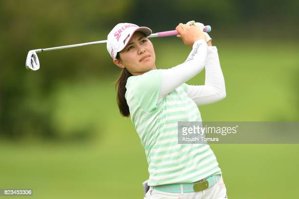 Hina Arakaki of Japan hits her second shot on the 10th hole during the third round of the LPGA ProTest at the Kosugi Country Club on July 27 2017 in...
