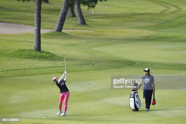 Hina Arakaki of Japan hits her second shot on the 1st hole during the first round of the Miyagi TV Cup Dunlop Ladies Open 2017 at the Rifu Golf Club...