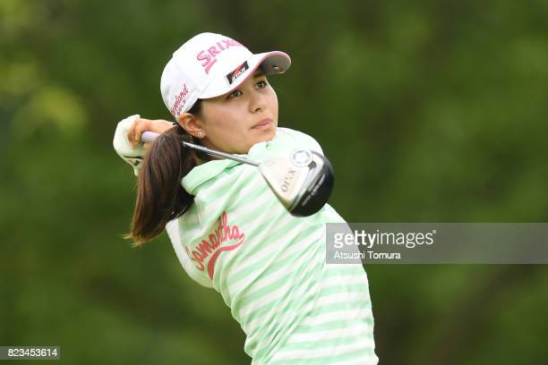 Hina Arakaki of Japan hits her tee shot on the 10th hole during the third round of the LPGA ProTest at the Kosugi Country Club on July 27 2017 in...