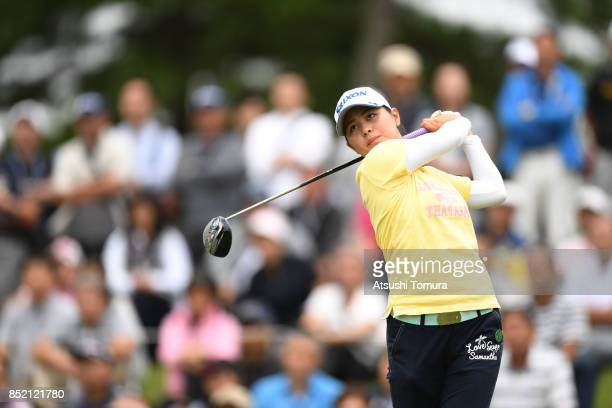 Hina Arakaki of Japan hits her tee shot on the 10th hole during the second round of the Miyagi TV Cup Dunlop Ladies Open 2017 at the Rifu Golf Club...
