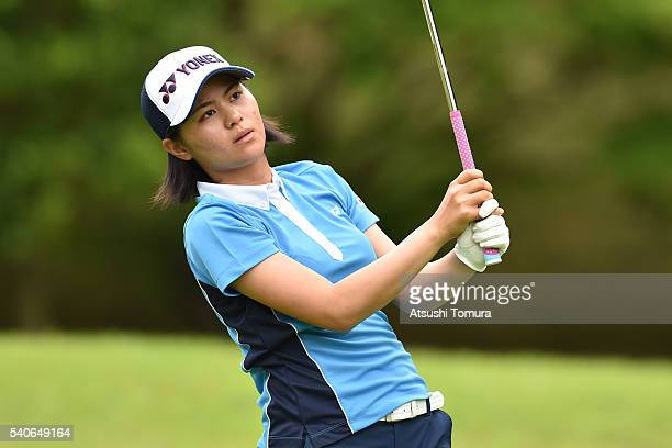 Hina Arakaki of Japan hits her tee shot on the 11th hole during the third round of 2016 TOYOTA Junior Golf World Cup at Ishino Course Chukyo Golf...
