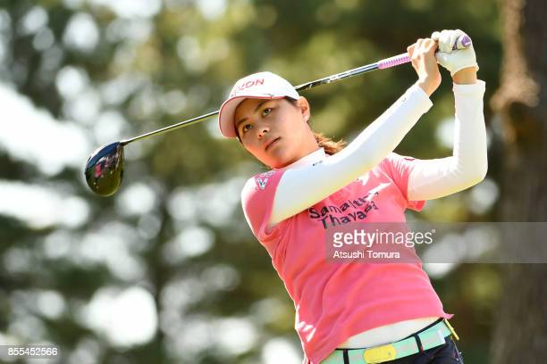 Hina Arakaki of Japan hits her tee shot on the 11th hole during the second round of Japan Women's Open 2017 at the Abiko Golf Club on September 29...