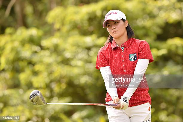 Hina Arakaki of Japan hits her tee shot on the 12th hall during the second round of the Daikin Orchid Ladies Golf Tournament at the Ryukyu Golf Club...