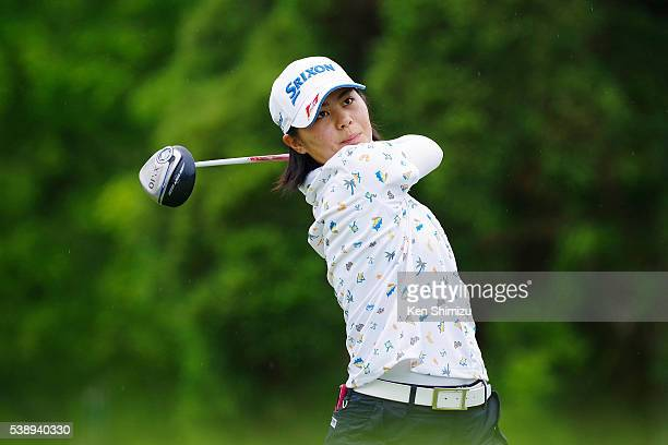 Hina Arakaki of Japan hits her tee shot on the 13th hole during the first round of the Suntory Ladies Open at the Rokko Kokusai Golf Club on June 9...