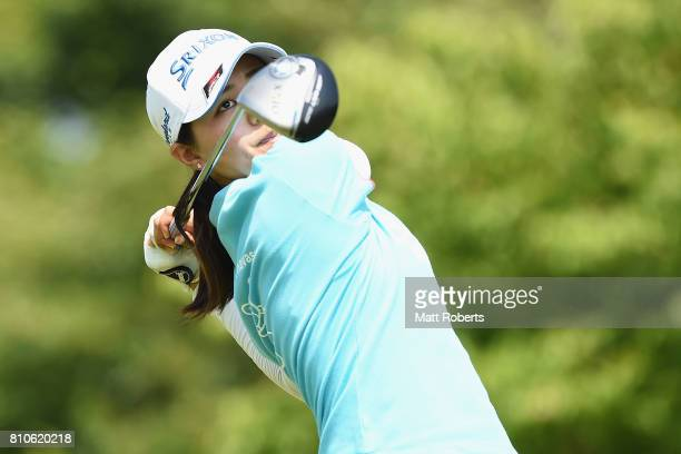 Hina Arakaki of Japan hits her tee shot on the 13th hole during the second round of the Nipponham Ladies Classics at the Ambix Hakodate Club on July...