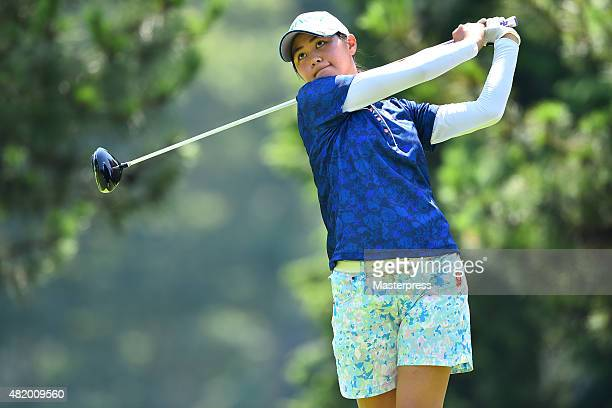 Hina Arakaki of Japan hits her tee shot on the 16th hole during the third round of the Century 21 Ladies Golf Tournament 2015 at the Izu Daijin...