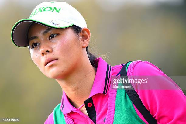 Hina Arakaki of Japan looks on during the third round of the Fujitsu Ladies 2015 at the Tokyu Seven Hundred Club on October 18 2015 in Chiba Japan