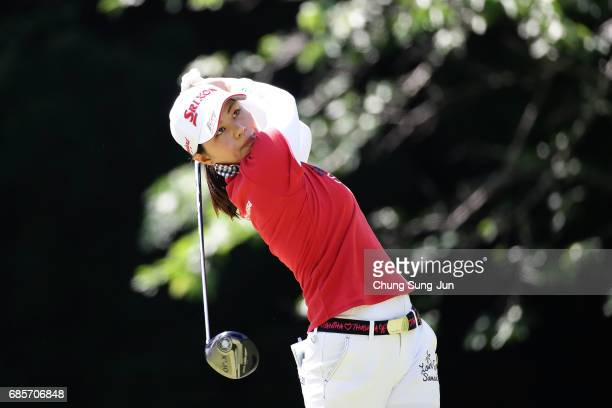 Hina Arakaki of Japan plays a tee shot on the 5th hole of second round during the Chukyo Television Bridgestone Ladies Open at the Chukyo Golf Club...