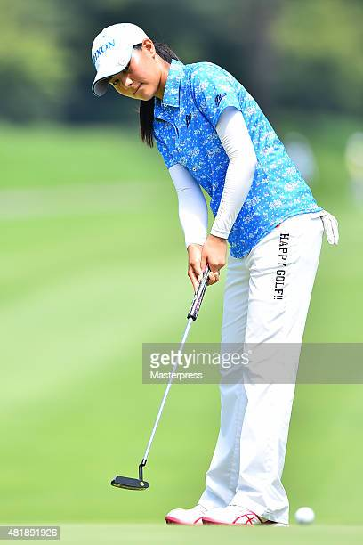Hina Arakaki of Japan putts during the second round of the Century 21 Ladies Golf Tournament 2015 at the Izu Daijin Country Club on July 25 2015 in...
