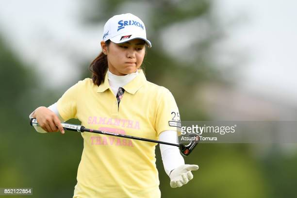 Hina Arakaki of Japan reacts during the second round of the Miyagi TV Cup Dunlop Ladies Open 2017 at the Rifu Golf Club on September 23 2017 in Rifu...
