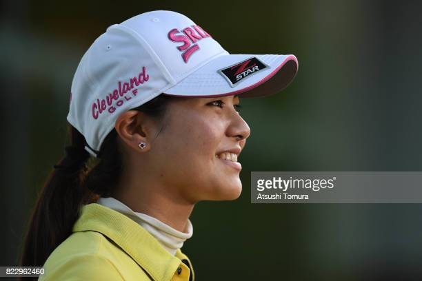 Hina Arakaki of Japan smiles during the rest of the first round of the LPGA ProTest at the Kosugi Country Club on July 26 2017 in Imizu Toyama Japan