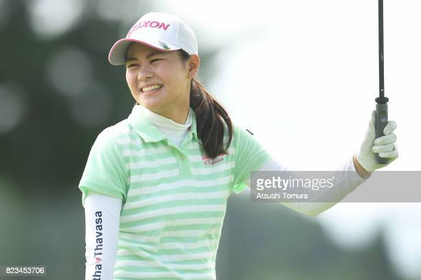 Hina Arakaki of Japan smiles during the third round of the LPGA ProTest at the Kosugi Country Club on July 27 2017 in Imizu Toyama Japan