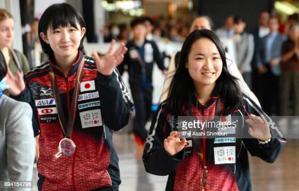 Hina Hayata and Mima Ito of Japan are seen on arrival at Narita International Airport on June 7 2017 in Narita Chiba Japan