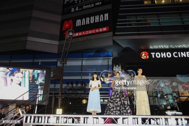 Hinako Sakurai Isabela Moner and Laura Haddock attend the Japanese premiere of 'Transformers The Last Knight' at TOHO Cinemas Shinjuku on July 20...