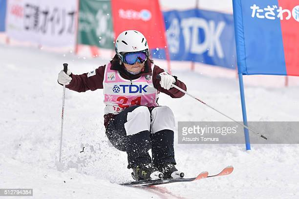 Hinako Tomitaka of Japan in Ladie's Dual Mogul during the FIS Freestyle Ski World Cup Tazawako In Akita supported by TDK at Tazawako Ski Resort on...