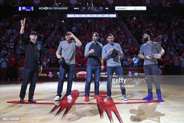 J Hinch Jake Marisnick Mike Fiers Lance McCullers Jr and Dallas Keuchel during the game between the Utah Jazz and the Houston Rockets on November 5...