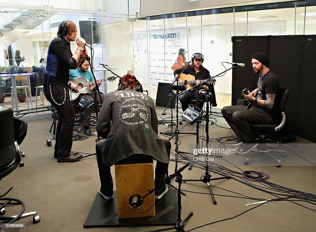 Hinder performs at the SiriusXM Studios on February 25, 2013 in New York City.
