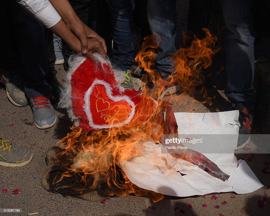 Hindu activists protest against celebrations of Valentine's Day by burning heart shapes, teddy bears and posters in Bikaner.
