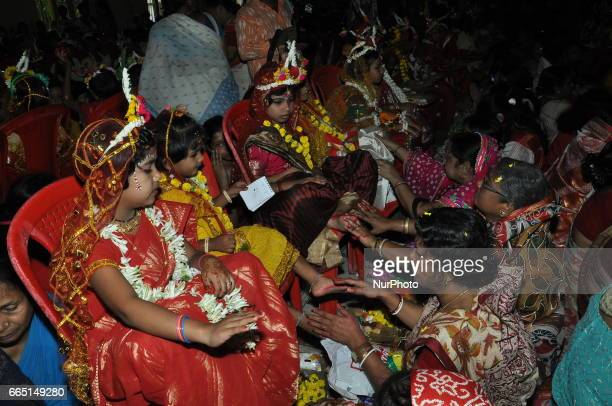 Hindu children take part in the Kumari Puja at Adyapeath Temple on the occasion for Hindu festival Ram Navami in KolkataIndia on April 5 2017