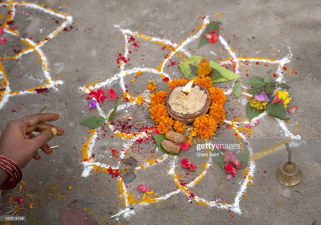 Hindu artful display for cleansing ceremony.