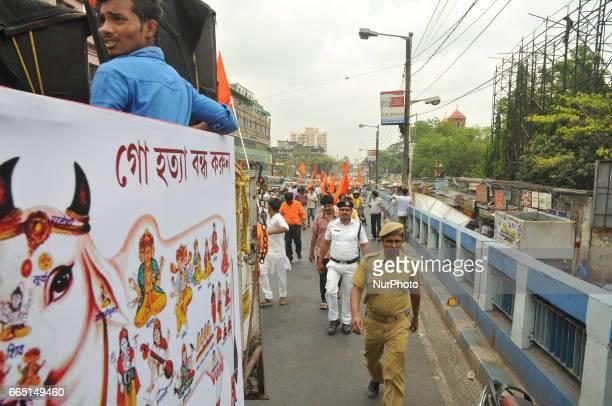 Hindu Devotees part in the Religious rally in Kolkata Road on the occasion of Ram Navami festival on April 052017 in KolkataIndia