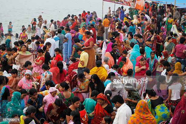 Hindu devotees pray before taking holy dip in the River Yamuna on the occasion of 'Bhaiduj festival' in Allahabad