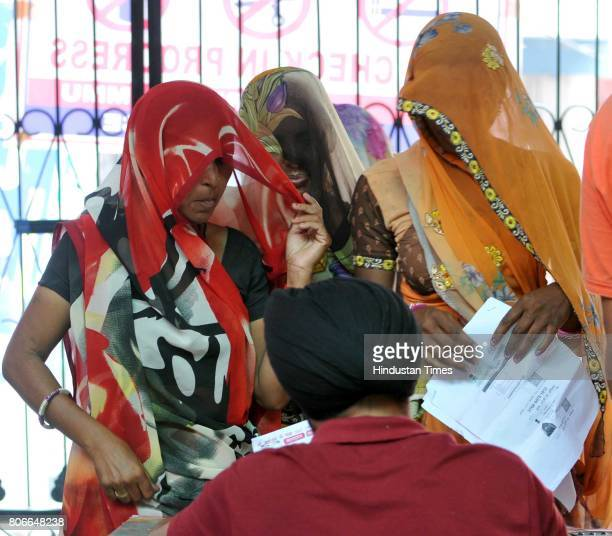 Hindu devotees register themselvs for the annual Amarnath pilgrimage at Amarnath Yatra base camp on July 3 2015 in Jammu India The fifth batch of...