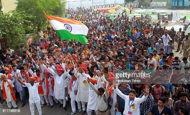 Hindu devotees take part in a Chari Yatra from Jammu to Shri Mata Vaishno Devi shrine on the occasion of Navratri festival on October 1 2016 in Jammu...