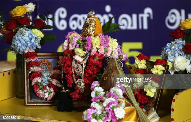 A Hindu Goddess is venerated as Her Holiness Amma Sri Karunamayi performs special prayers during the Homa at the Bhuvaneswari Amman Temple in...