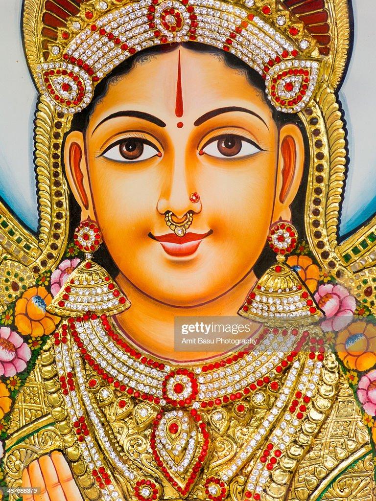 Hindu Calendar Art : Hindu goddess laxmi indian calendar art stock photo