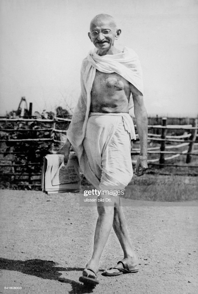 MOHANDAS GANDHI Hindu nationalist and spiritual leader Photographed at the Sevagram Ashram