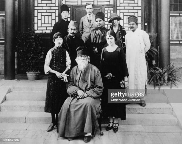 Hindu philosopher poet and lecturer Rabindranath Tagore with a group of the Chinese Lecture Association Peking China June 24 1924 On the left is an...