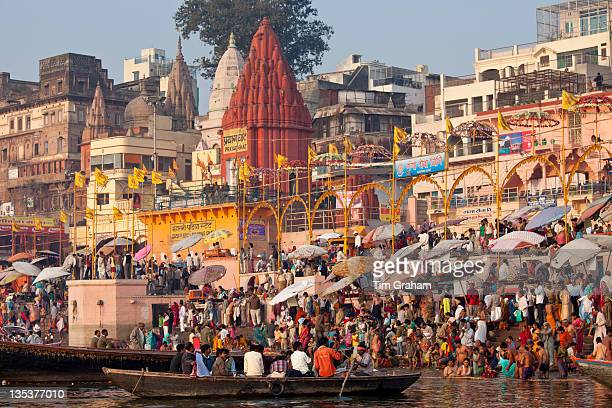Hindu Pilgrims at Ganges River at Varanasi, India