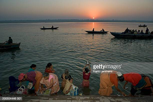 Hindu pilgrims bathing in Ganges River