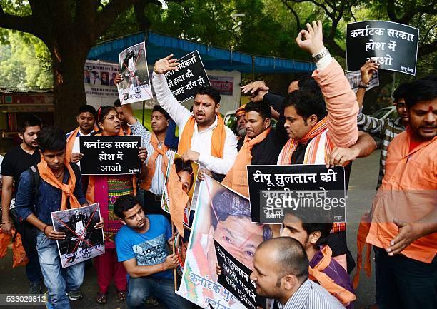 Hindu Sena activists staging a demonstration at Jantar Mantar against the Karnataka's Chief Minister Siddaramaiah and Tipu Sultan on November 13 2015...