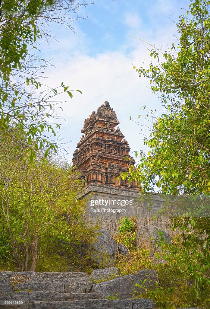 A hindu temple in the ruins of Gingee Fort : Stock Photo