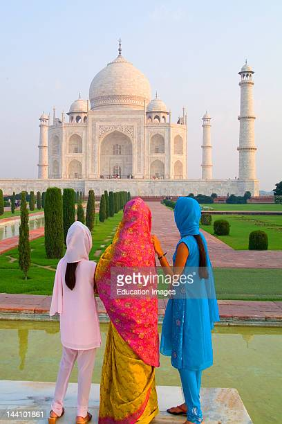 Hindu Women With Veils At The Taj Mahal India