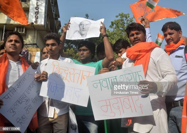 Hindu Yuva Vahini founded by UP CM Yogi Adityanath protested over Kulbhushan Jadhav's death sentence by Pakistan accusing him of RAW Agent at...