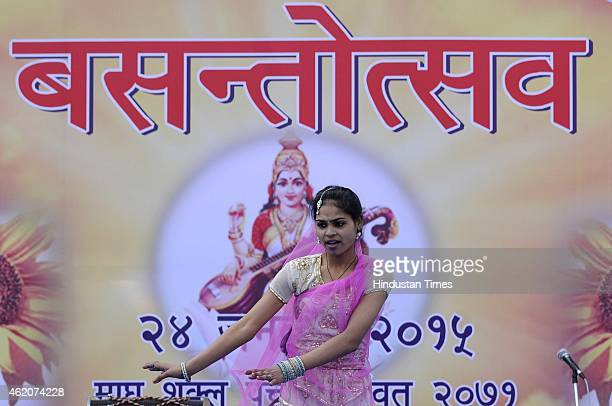 Hindus devotees dance on the eve of Vasant Panchami festival on January 24 2015 in Noida India Vasant Panchami sometimes referred to as Saraswati...