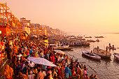 Hindus gathering at the Ganges, Varanasi