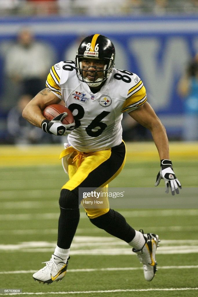 Hines Ward #86 the Pittsburgh Steelers runs for yards after the catch on a drive in the third quarter against the Seattle Seahawks in Super Bowl XL at Ford Field on February 5, 2006 in Detroit, Michigan.
