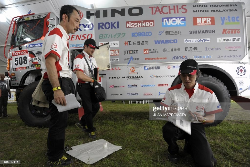 Hino truck driver Teruhito and codriver Seiichi Suzuki of Japan check documets during the technical verifications of the Dakar 2012 in Mar del Plata...