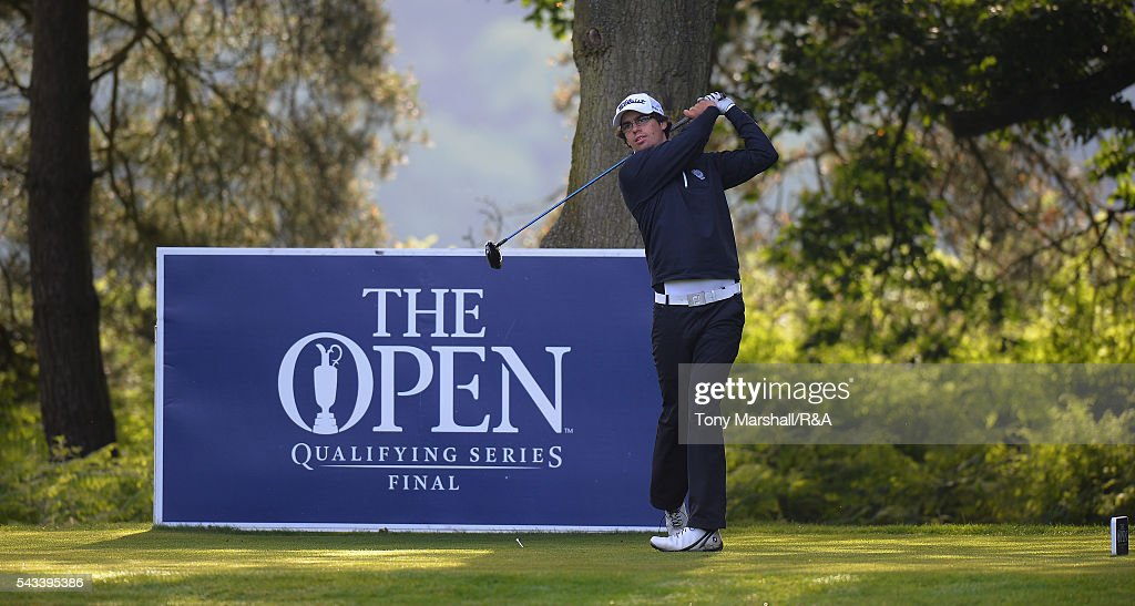 Hinrich Arkenau of Germany plays his first shot on the 10th tee during the Open Championship Qualifying - Woburn at Woburn Golf Club on June 28, 2016 in Woburn, England.
