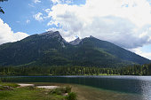 lake at hintersee, bavarian region in germany