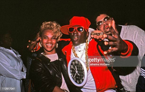 Hip Hip artists Pepa of SaltnPepa Flavor Flav of Public Enemy and Heavy D pose for a photo at a party for the release of Run DMC's album 'Tougher...