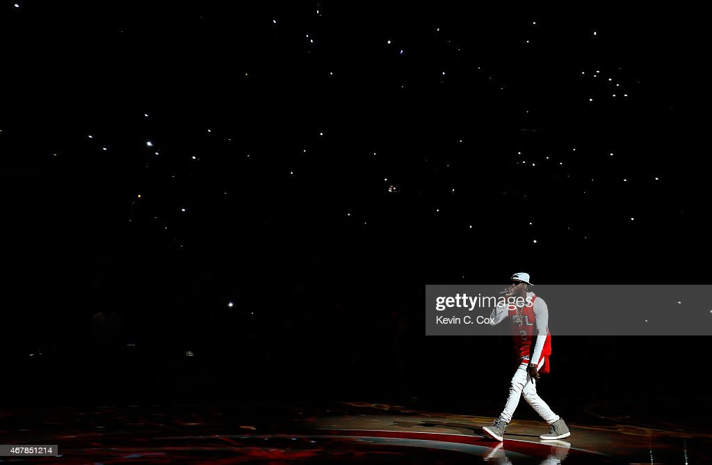 Hip hop artist 2 Chainz performs prior to the game between the Atlanta Hawks and the Miami Heat at Philips Arena on March 27 2015 in Atlanta Georgia...