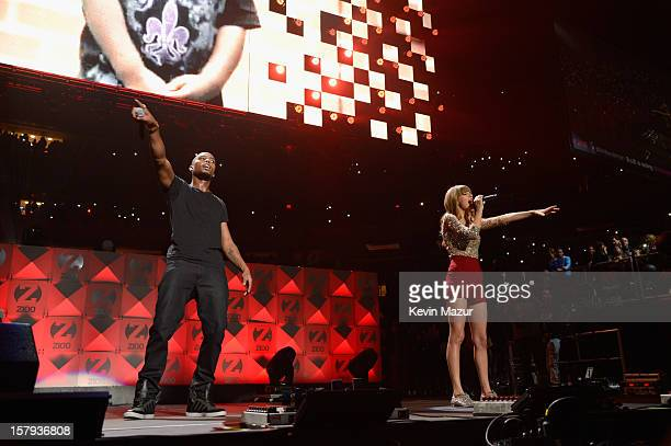 Hip Hop artist BOB and Taylor Swift perform onstage during Z100's Jingle Ball 2012 presented by Aeropostale at Madison Square Garden on December 7...
