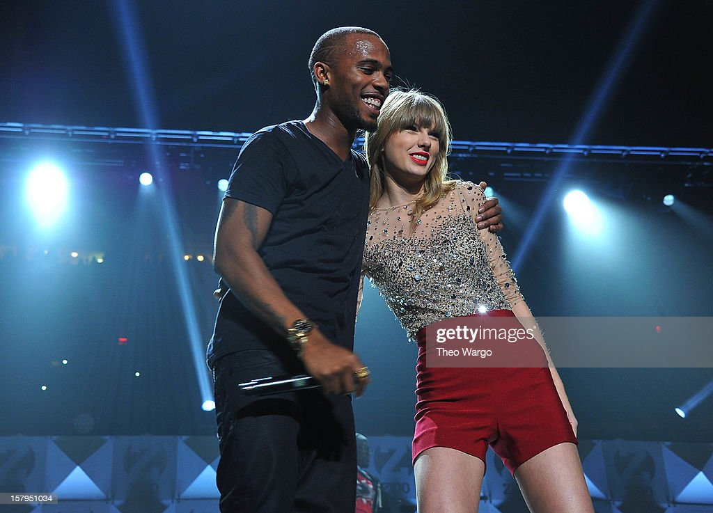 Hip Hop artist B.o.B. and Taylor Swift perform onstage during Z100's Jingle Ball 2012, presented by Aeropostale, at Madison Square Garden on December 7, 2012 in New York City.